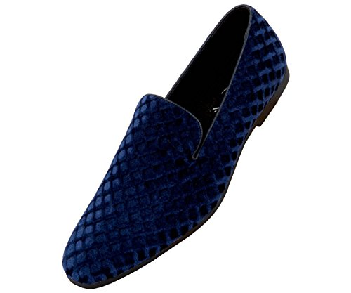 Dress Loafer Royal Amali Men's Or Studded Comfortable Blue Slip Rhinestone Driver Smoking Shoes Velvet Slipper On a086qcar