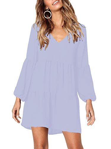 (MISSLOOK Women's Long Sleeve Tunic Dress V Neck Ruffle Loose Mini Dress Swing Shift Dresses - Light Blue)