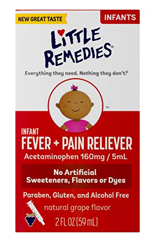 Little Remedies  Infant Fever & Pain Reliever with Acetaminophen | Grape |  2 FL OZ