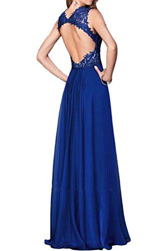 Damen Traeger Spitze Ivydressing Rueckenfrei A Partykleid Fashion Royalblau Linie Promkleid Chiffon Abendkleid BqwdfaUxHd