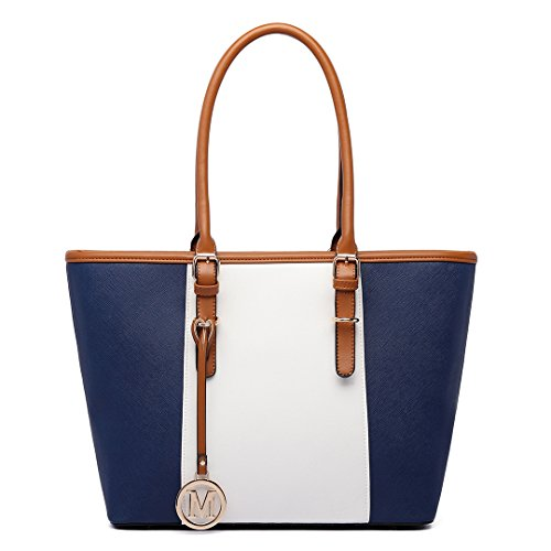 Miss Lulu Strip Colour Saffiano Women's ladies Designer Celebrity Tote Bags Faux Leather Style Large Shoulder Shopper Handbags (1661 Navy)