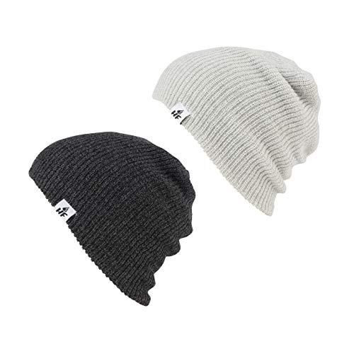 Toque Beanie Hat - HOT FEET Unisex Winter Beanies | Warm Knit Men's and Women's Hats/Caps | Value Pack/Set of 2 - (Charcoal & Gray)