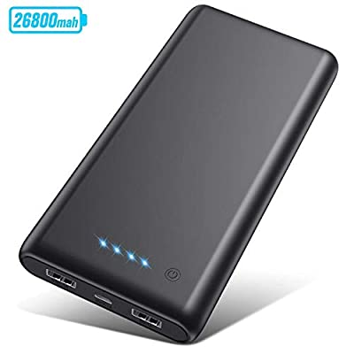 Portable Charger 26800mAh?2019 Upgrade High Capacity?Power Bank Ultra Compact External Battery Pack Backup with 4 LED Lights,Dual USB Ports High-Speed Charging for Cell Phones, Tablet and More (Black)
