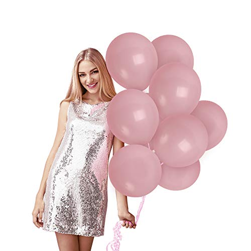 Treasures Gifted Pale Pink Pastel Matte Latex Balloons with Curling Ribbon Party Kit for Unicorn Birthday Girl Baby Shower Under The Sea Engagement Party Arch Garland Decoration (100 Pack)