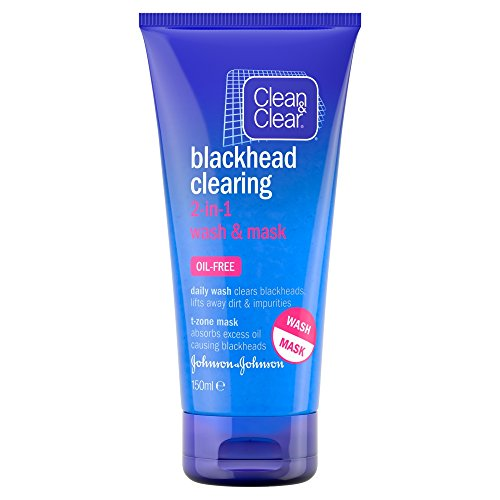 Clean & Clear Blackhead Clearing 2-in-1 Wash & Mask (150ml) (Skin Free Oil Powder Clearing)