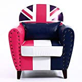 Warmiehomy Faux Leather Tub Chair Union Jack Occasional Chair Upholstered Armchair with Solid Wood Legs for Living Room Bedroom Office Lounge Reception