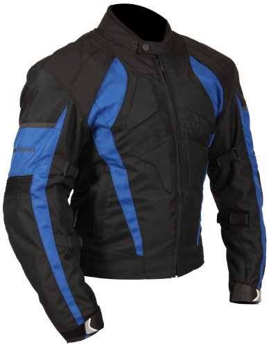 Milano Sport Gamma Motorcycle Jacket with Blue Accent (Black, Large) by Milano Sport (Image #2)