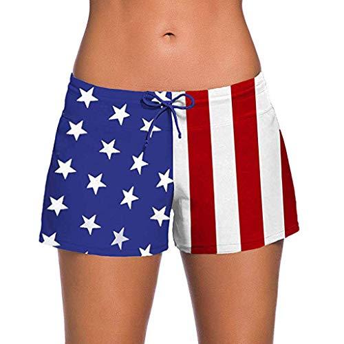 Alangbudu Women Sports Flag Waistband Summer Bottom Beach Hipster Swim Board Shorts Rash Guard Plus Size Boxer Brief Blue