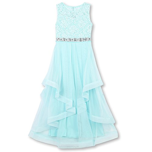 Speechless Girls' Big 7-16 Tween Maxi Dress with Wide Ribbon Hem Formal Dance and Party, Mint, 14 ()