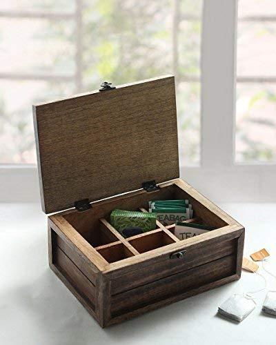 Store Indya Handmade Wooden Tea Box Teabags Holder Chest Organizer with 6 Compartments Storage Box with Bird Design (Design 2) ()
