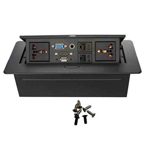 Wiistar Hide-able Power Data Center - HDMI,VGA,RJ45,USB,3.5MM Audio Tabletop Interconnect Box