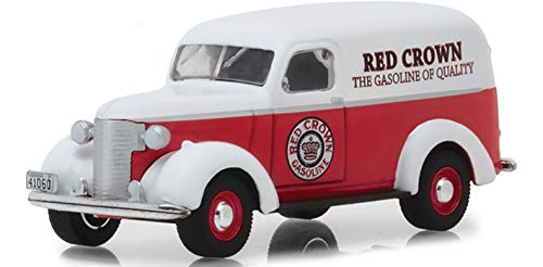 1939 Chevrolet Panel Truck Red Crown Gasoline Red with White Top Running on Empty Series 6 1/64 Diecast Model Car by Greenlight 41060 E