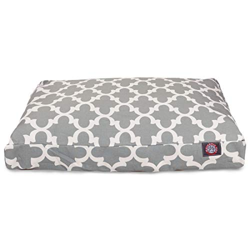 Gray Trellis Medium Rectangle Indoor Outdoor Pet Dog Bed With Removable Washable Cover By Majestic Pet Products