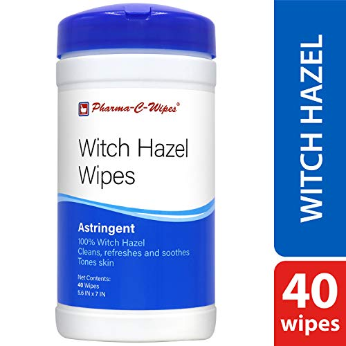 NEW Pharma-C-Wipes 100% Witch Hazel Wipes (1 canister, 40 wipes) Toner & Astringent Cleansing -