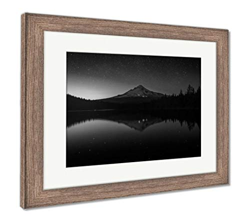 (Ashley Framed Prints Stars in The Night Sky and Mount Hood Reflecting in Trillium Lak, Wall Art Home Decoration, Black/White, 34x40 (Frame Size), Rustic Barn Wood Frame, AG5626444)