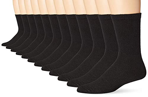 Hanes Mens Crew Socks, 12-Pack (184V12) (Sneaker & Shoe Sizes: 6-12 / Sock Sizes: 10-13, Black)