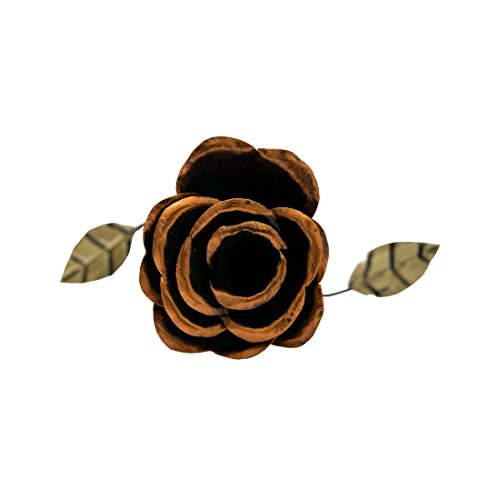 Hand Forged Wrought Iron Rose Decorative Flower Centerpiece Decoration Houseware Ornament Handmade by Hide & Drink :: - Bronze Rose