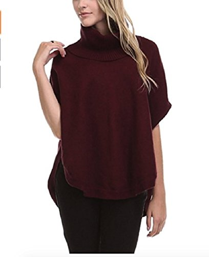 Sisters Women's Cowl Neck Poncho Sweater Top (Wine, Small)