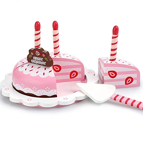 ooden Birthday Cake Play Set - Wooden Play Food Dessert Birthday Party ()