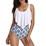 Limsea Bikinis Sets 2019 Womens Plus Size for Swim Tankini Swimsuits Printing Padded Push up Bikini Top with Cut Out Bottoms One Two Piece Bandeau Beach Swimwear Bathing Suit High Waist Blue