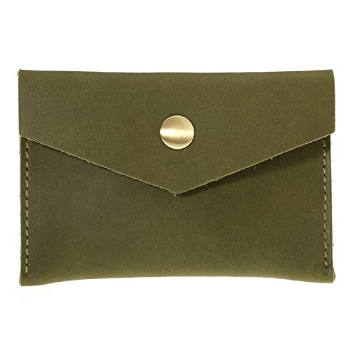 Bird&Fish Handmade Vintage Business Card Holder Genuine Leather Front Pocket Minimalist Wallet for Men Women (Dark Green)