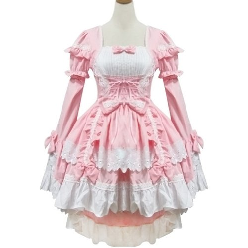 UK Size 8-10 Pink France Maid Uniform Costume Party Dress Waitress Outfit
