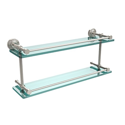 Glass Gallery Rail Shelf - Allied Brass WP-2/22-GAL-PNI Waverly Place 22 Inch Double Glass Shelf with Gallery Rail, Polished Nickel