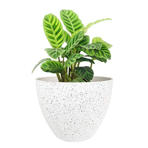 Flower Pots Outdoor Indoor Garden Planters, Resin Plant Containers with Drain Hole, Speckled White 8.6 inches, 1 Pack