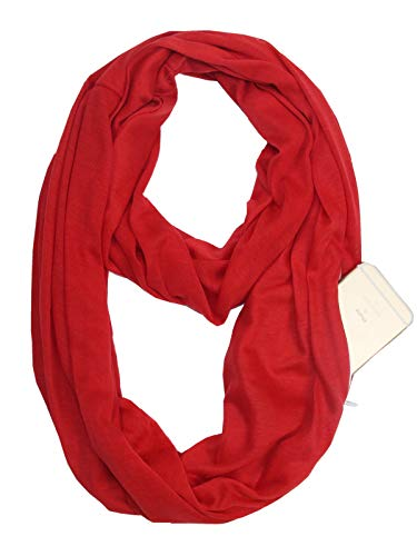 Fashion Solid Color Scarf for Women Infinity Scarf with Zipper Pocket, Best Travel Scarf Red ()