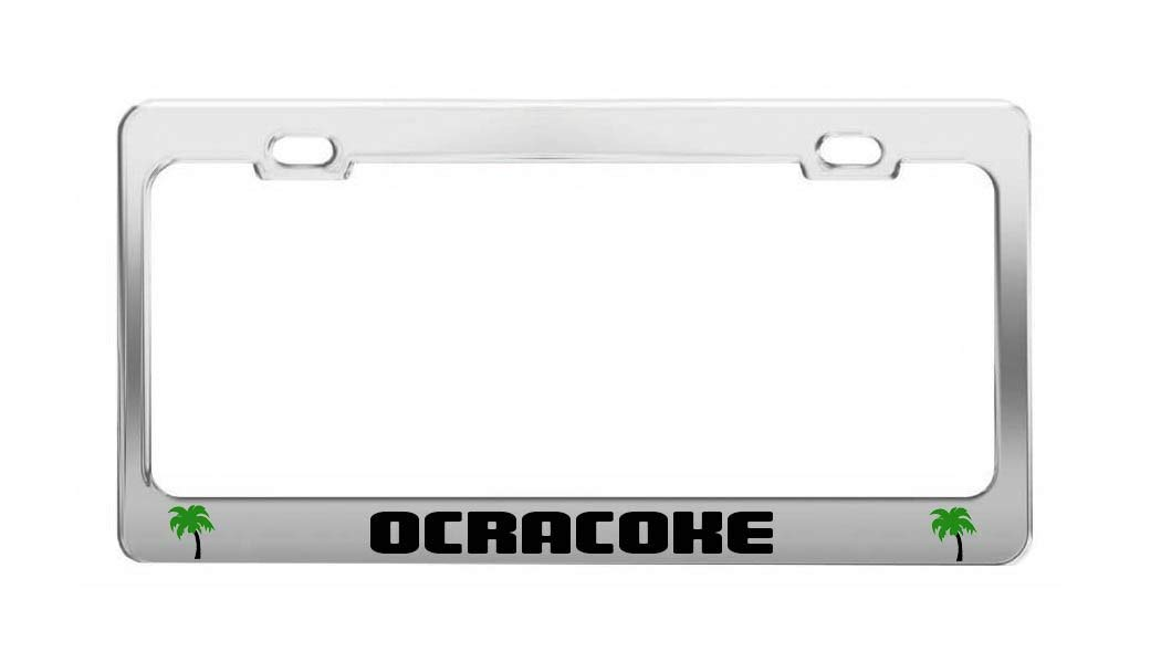 OCRACOKE United States Beach Shore Coast Fun License Plate Frame Auto Tag Holder