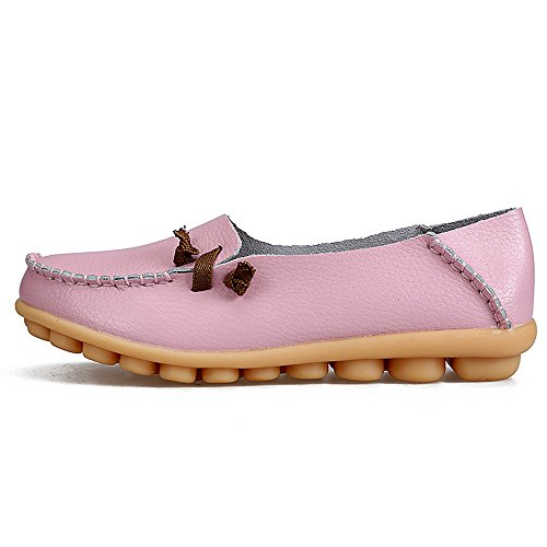 on Slip Slippers IRuis Loafers Flat Leather Genuine Indoor Shoes Pink Driving Moccasin Casual Women's vwvTq7P