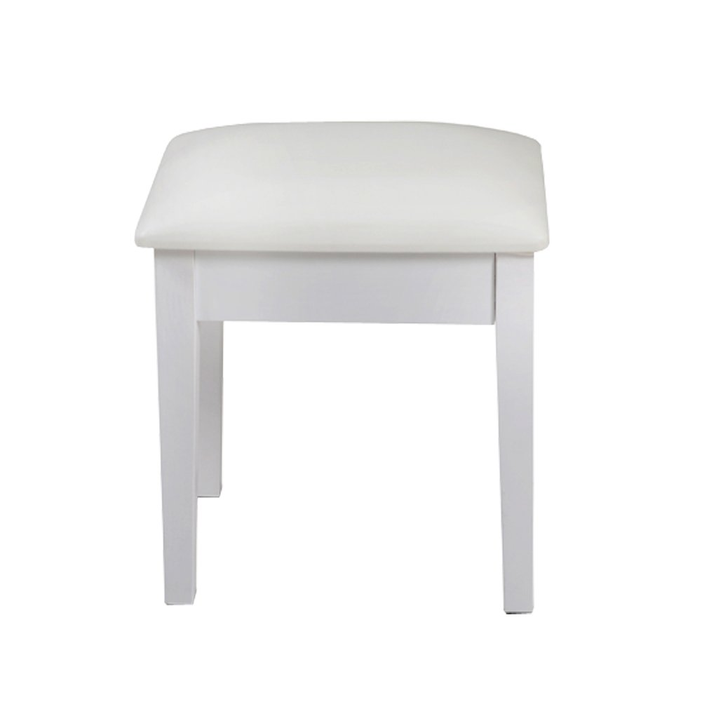 Facilehome Vanity Stool Dressing Stool with Cushion and Solid Legs (White)