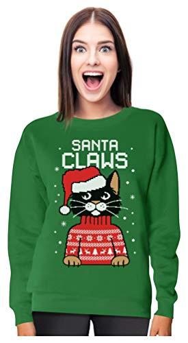 Santa Claws Cat Ugly Christmas Sweater Style Women Sweatshirt Medium Green (Music Tacky Christmas)