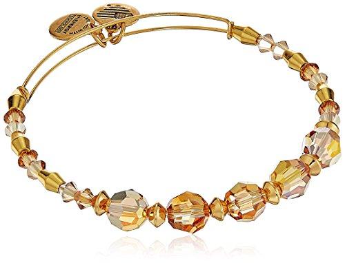 Alex and Ani Swarovski Crystal Beaded, Glow II Bangle Bracelet- Shiny Gold