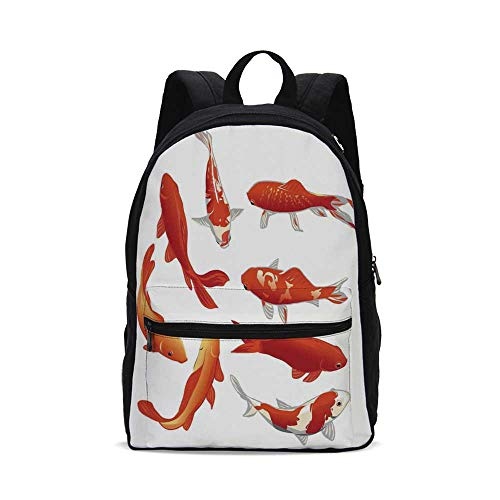Ocean Animal Decor Fashion Canvas printed Backpack,Legendary Koi Fish Band Chinese Good Fortune and Power Icon Tranquil for school,One_Size