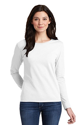 (Gildan Heavy Cotton Ladies Missy Fit Long-Sleeve T-Shirt, Large, White)