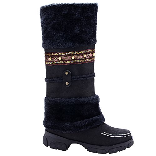 Pom Pom Flat Fur Boots Mid Snow Lined Womens Calf Odema Black Winter Fully nZa5xaqEg
