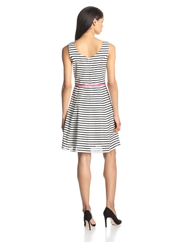 Tiana B Women's Sleeveless Striped Belted Dress