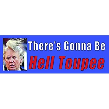 There will be hell toupeé anti donald trump funny bumper sticker roast the new president