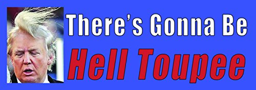 There Will Be Hell Toupeé Anti Donald Trump Funny Bumper Sticker. Roast the New President & that Ridiculous Roadkill on His Head. Hilarious Political Joke Decal Guaranteed to Win the Popular Vote.