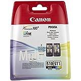 Canon PG-510 + CL-511 - Cartucho de tinta, negro, cian, magenta y amarillo