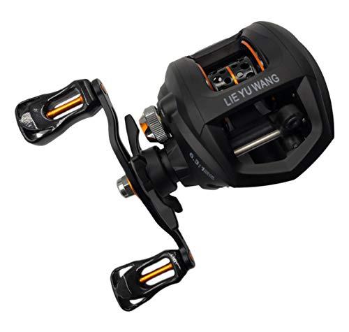 Sensu Bearings Baitcaster Fishing Reel (Black-Orange, Right Handed Single Brake(6.3:1))