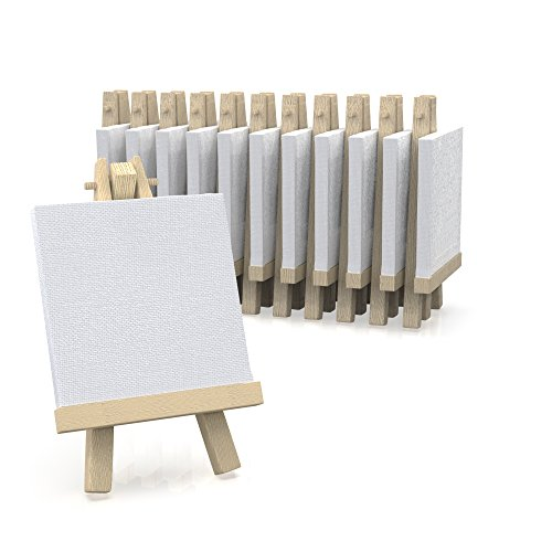 "3""x3"" Canvas for Painting with Easel, Academy Art Supplies (12 Pack)"