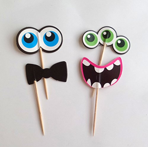 Yunko 24 Pcs Small Monster Party Fun Cup Cake Decorative Toppers Cupcake Decorating Tools for Party:Eyes Mouth And - Halloween Cupcakes Monster
