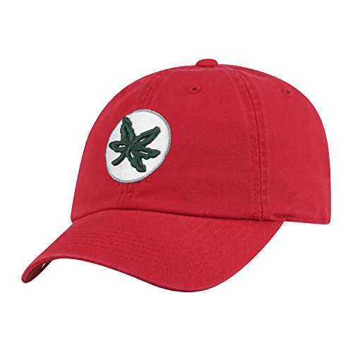 Top of the World NCAA Mens College Town Crew Adjustable Cotton Crew Hat Cap (Ohio State Buckeyes-Red With Leaf Logo, (Ohio Cotton Cap)