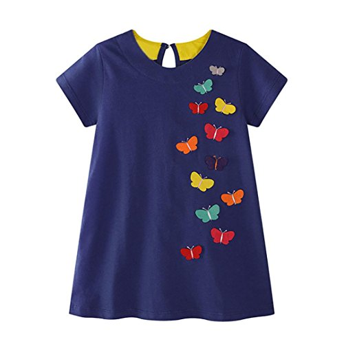 - Kids Sundress MITIY Kids Children Clothing Polka Dot Girl Chiffon Dress (4T, Navy)
