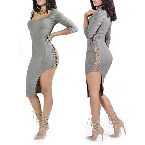 La Cabina Femme Sexy Mini Robe Asymétrique Fendue Une Côté en Lacet & Bandage Sexuel pour Soirée Cocktail