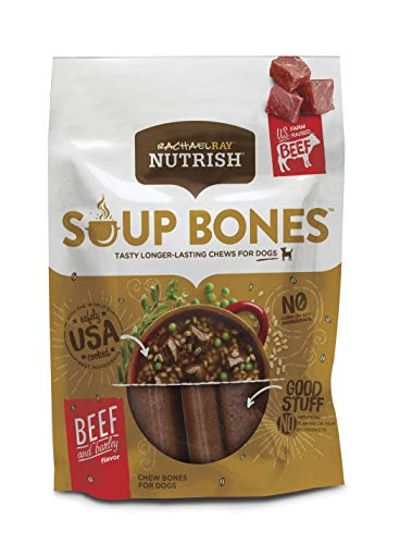 Rachael Ray Nutrish Soup Bones Dog Treats, Real Beef & Barley Flavor, 6.3 Oz. Bag (Pack Of 8)