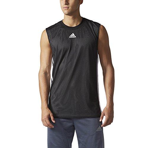 adidas Men's Basketball Double Up Tank Top (2XLT, Black/White)