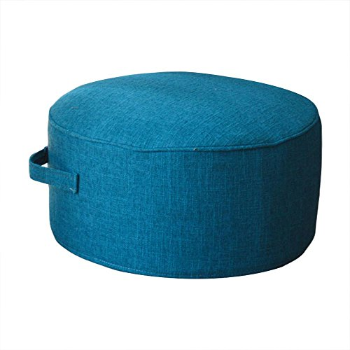 """ZooBoo Floor Sitting Cushion Footstool -Janpanese Round Seating Sofa Pouf Foot Leg Rest Step Stool Pillow for Kids Adults - Diameter 15.7"""" (Blue)"""